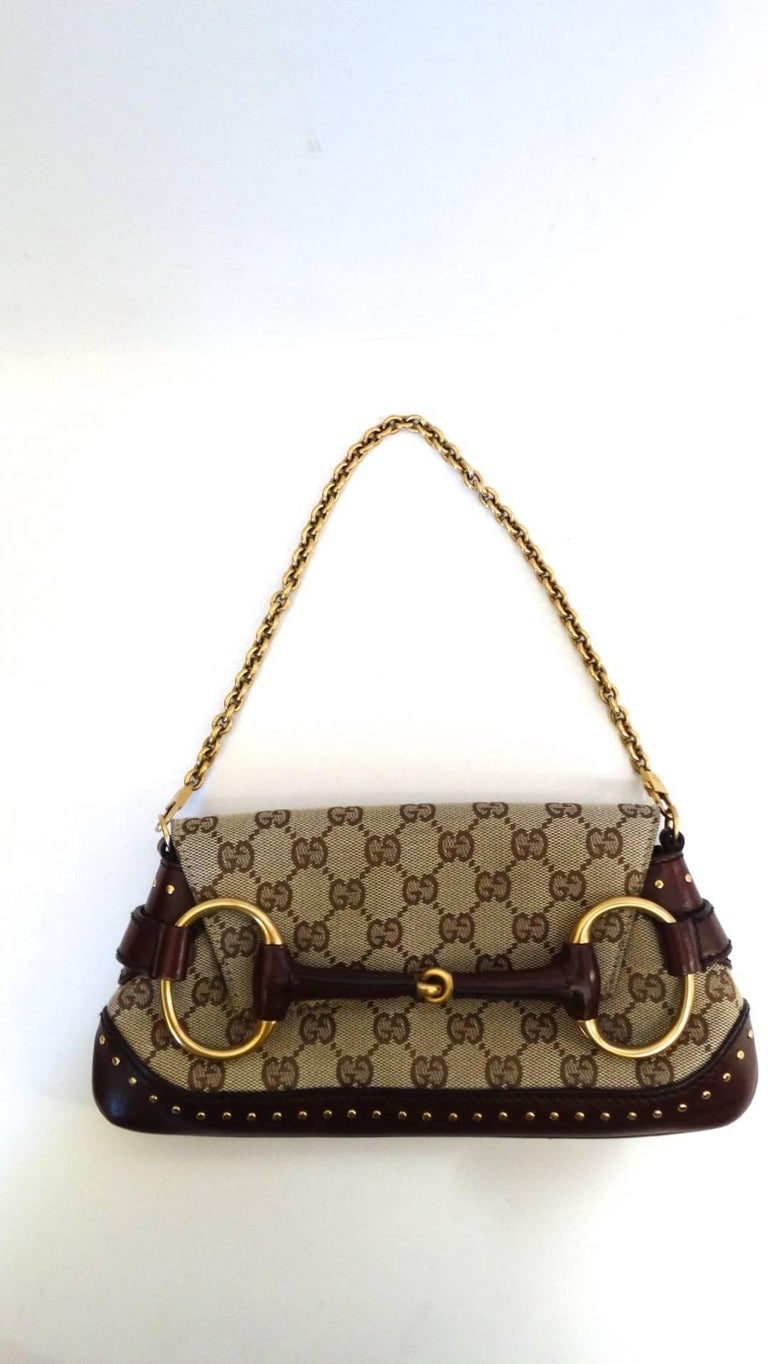 399d8450a57 Tom Ford for Gucci Monogram Horsebit Chain Shoulder Bag