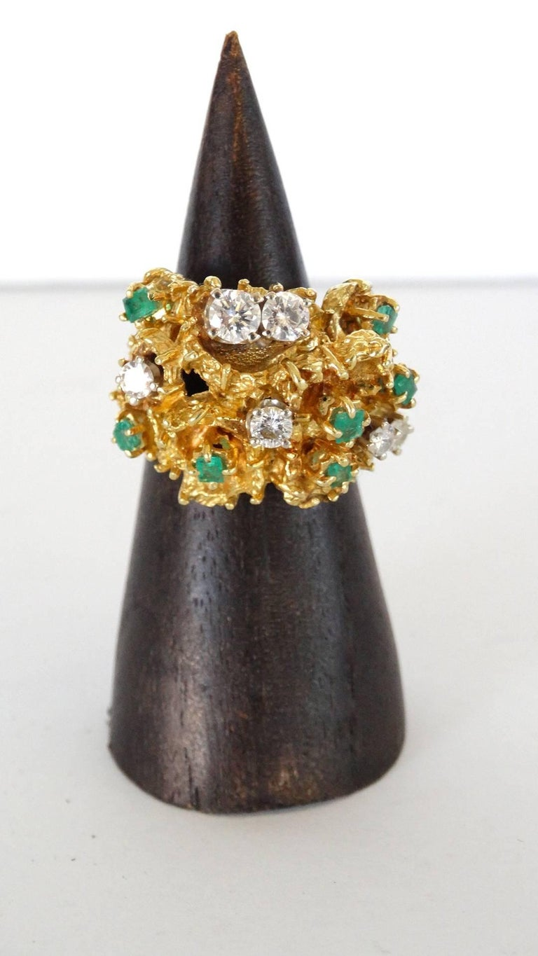 ca1e7de831fd0 18K Gold Nugget Cocktail Ring with Diamonds and Emeralds