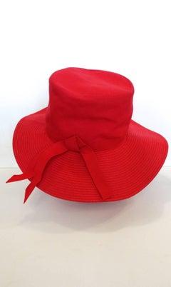 20th Century Red Cotton & Raffia Brim Hat