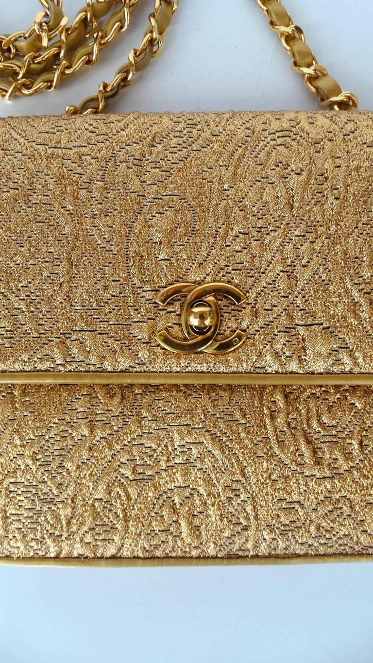 Brown Chanel Gold Brocade Mini Half-flap Crossbody Bag, 1990s  For Sale