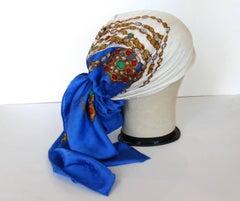 1980s Chanel CC Monogram Bejeweled Silk Scarf