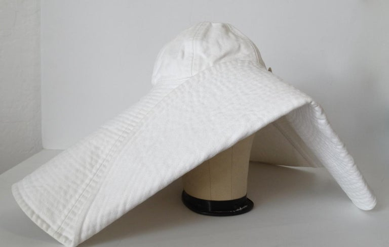 Gray 1990s Chanel White Oversized Sun Hat  For Sale