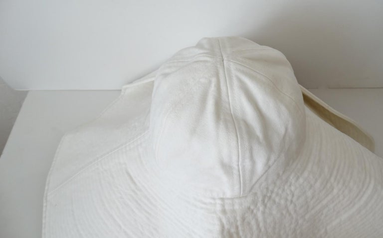 1990s Chanel White Oversized Sun Hat  For Sale 6