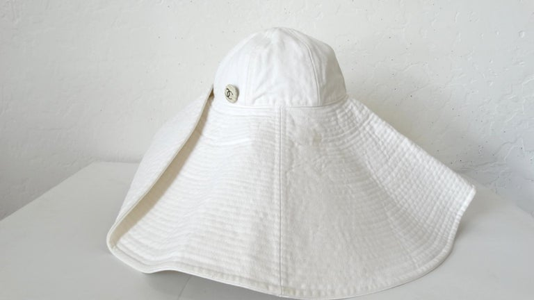 1990s Chanel White Oversized Sun Hat  For Sale 8