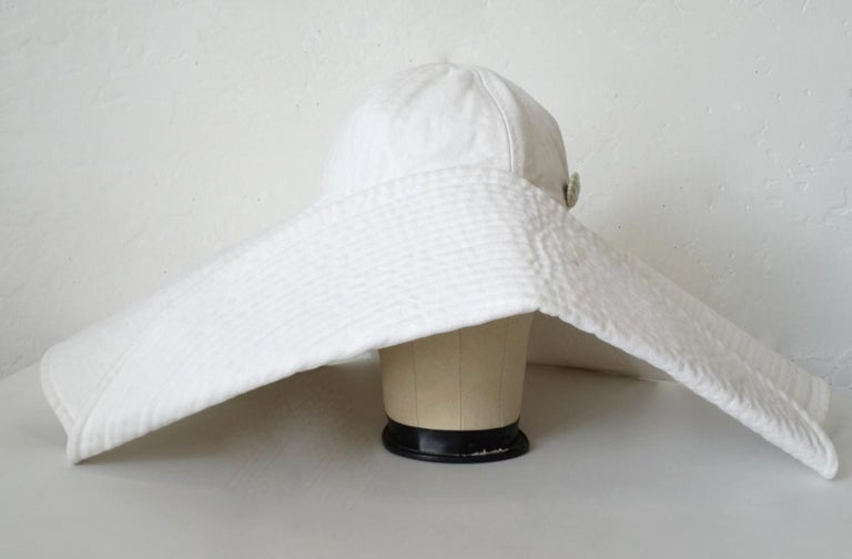 1990s Chanel White Oversized Sun Hat  For Sale 12