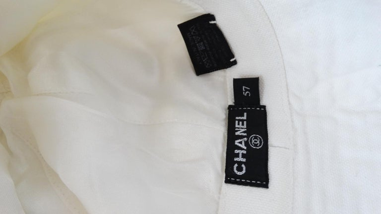 1990s Chanel White Oversized Sun Hat  For Sale 10