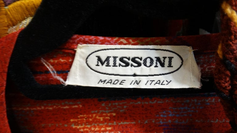 Red 1970s Missoni Silk Wrap Dress with Rope Belt For Sale