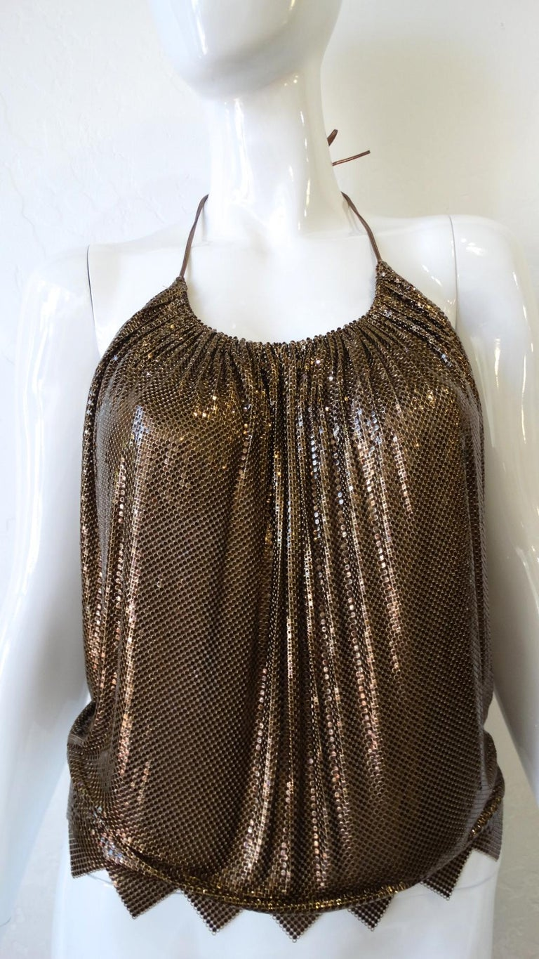 1970s Whiting and Davis Bronze Metal Mesh Halter Top For Sale 4