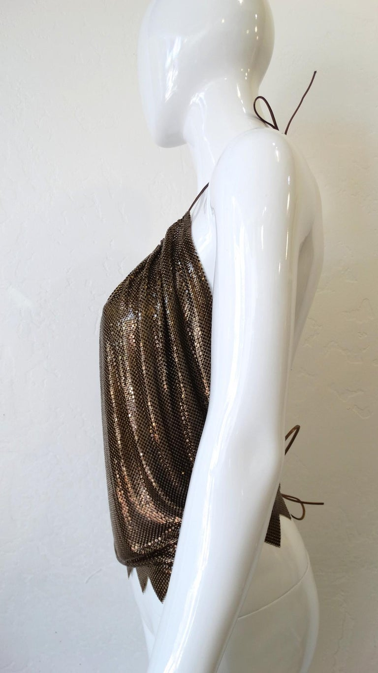 1970s Whiting and Davis Bronze Metal Mesh Halter Top For Sale 3