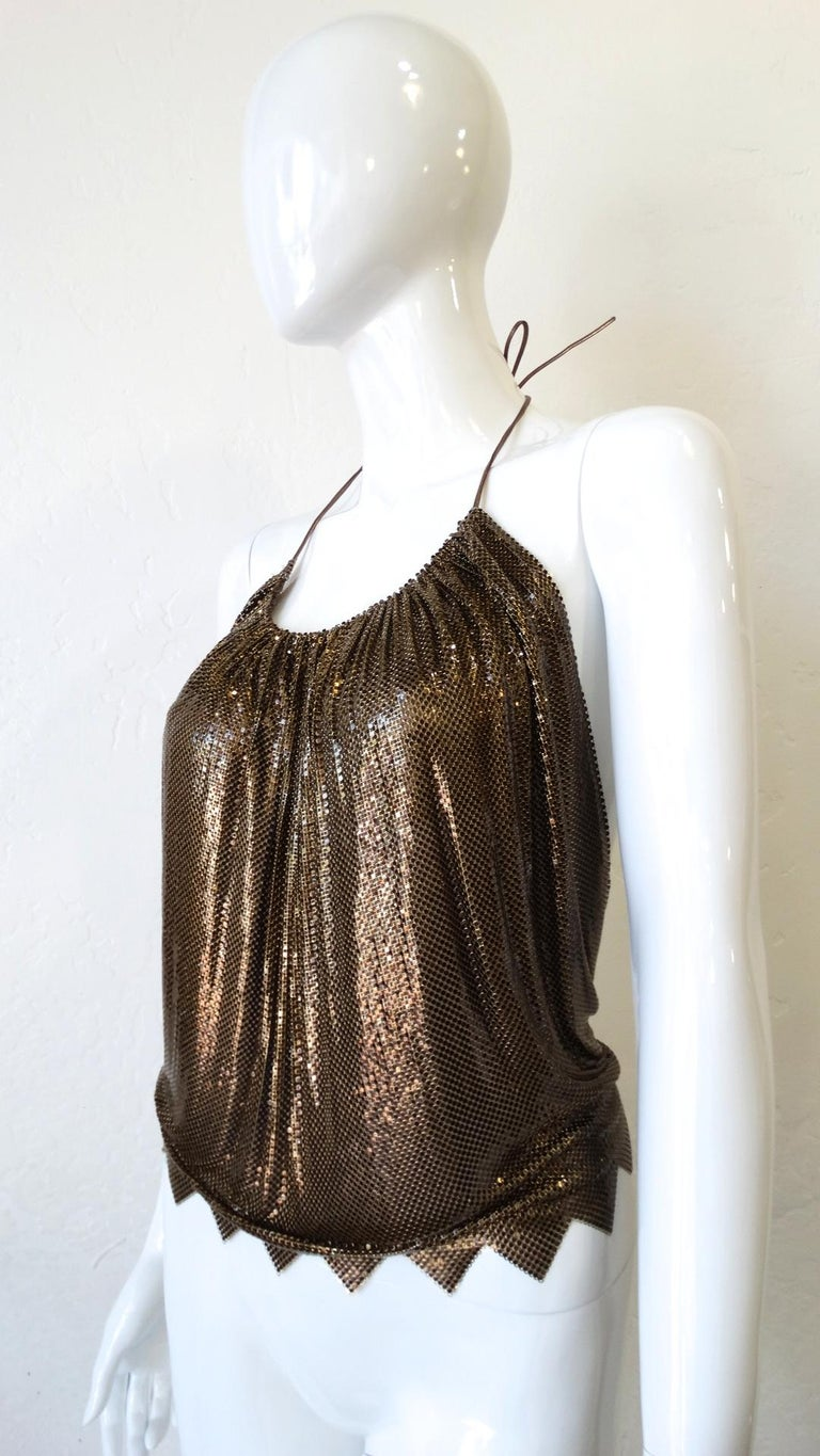 1970s Whiting and Davis Bronze Metal Mesh Halter Top For Sale 2