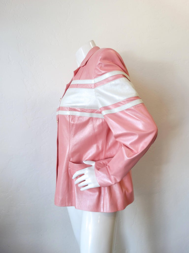 Pink 1980s Escada Racing Stripe Leather Jacket For Sale
