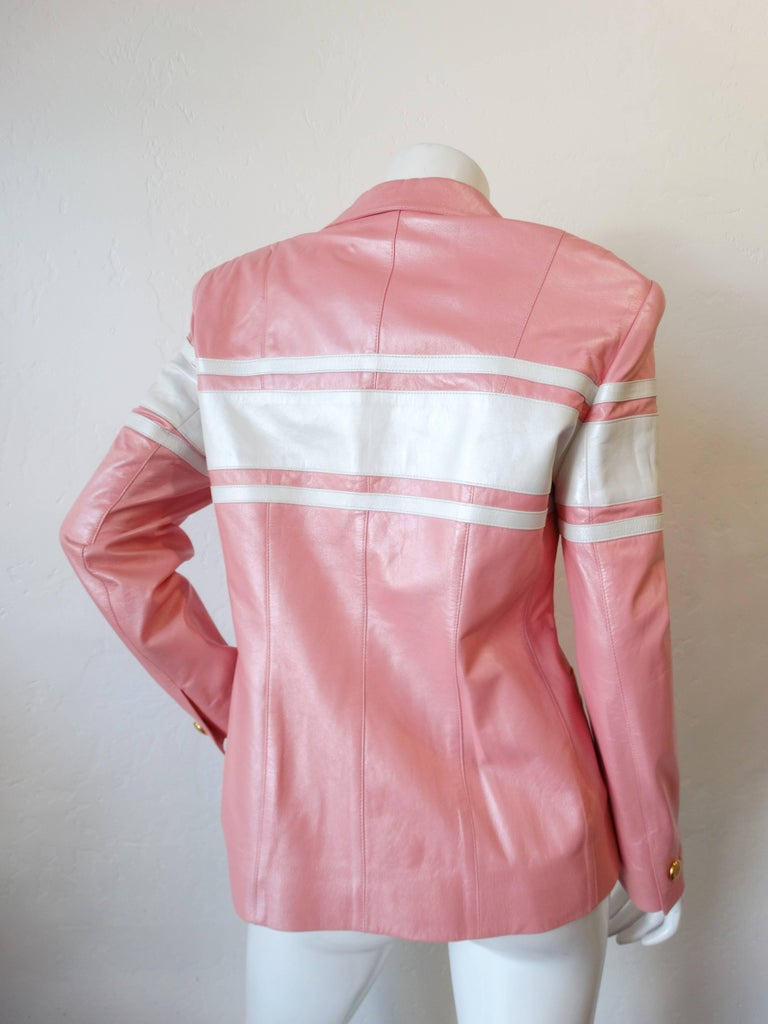 1980s Escada Racing Stripe Leather Jacket In Excellent Condition For Sale In Scottsdale, AZ