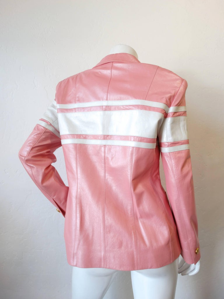 Women's 1980s Escada Racing Stripe Leather Jacket For Sale