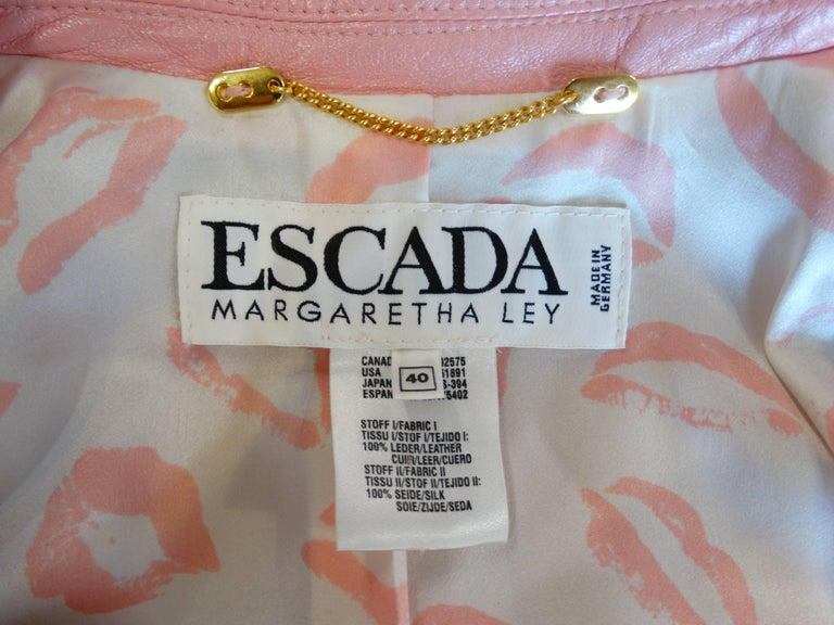 1980s Escada Racing Stripe Leather Jacket For Sale 1