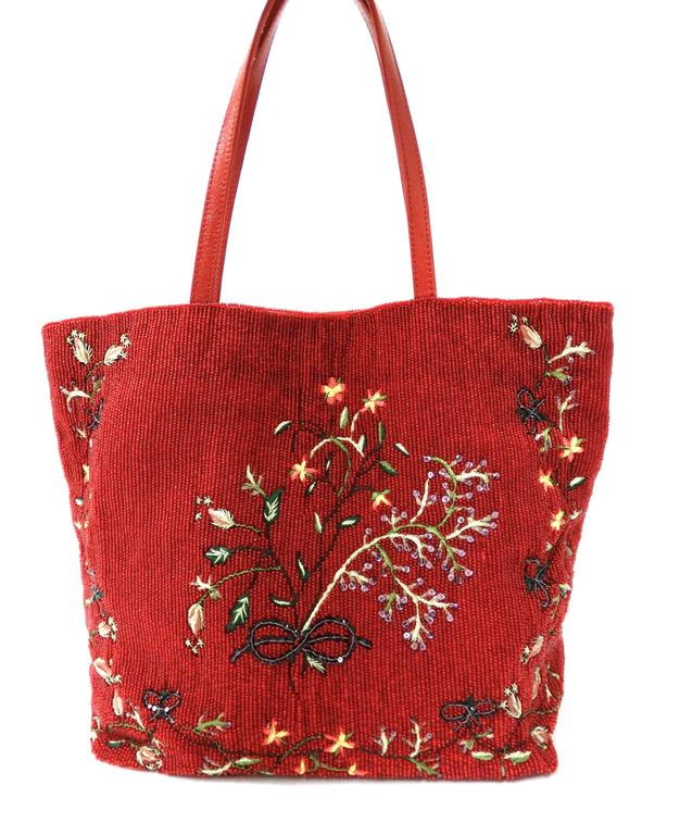 Women's 1999 Valentino Red Beaded Tote Bag  For Sale