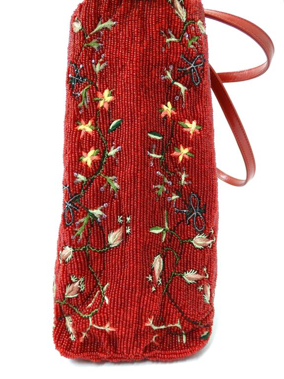 1999 Valentino Red Beaded Tote Bag  For Sale 5