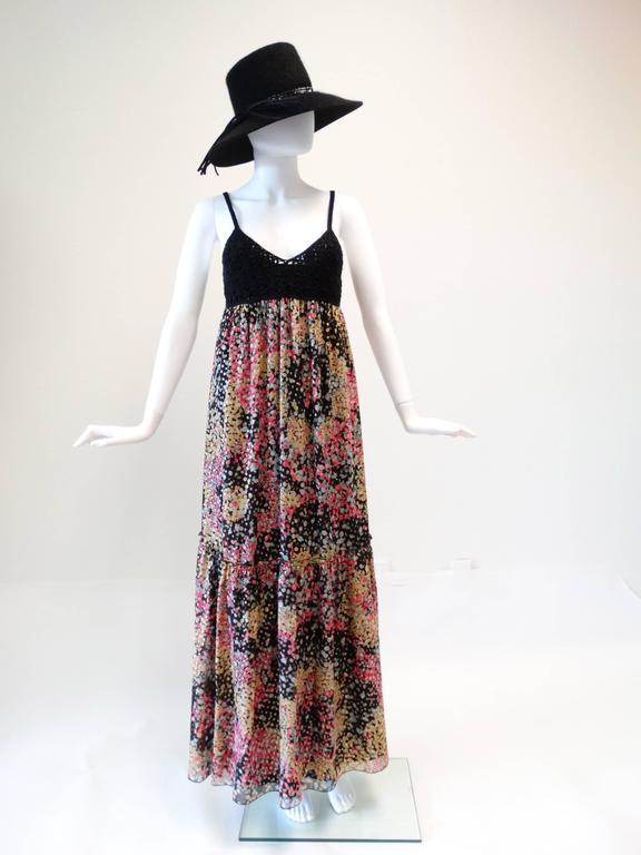 1990s M Missoni Crochet Lame' Maxi Dress For Sale 4