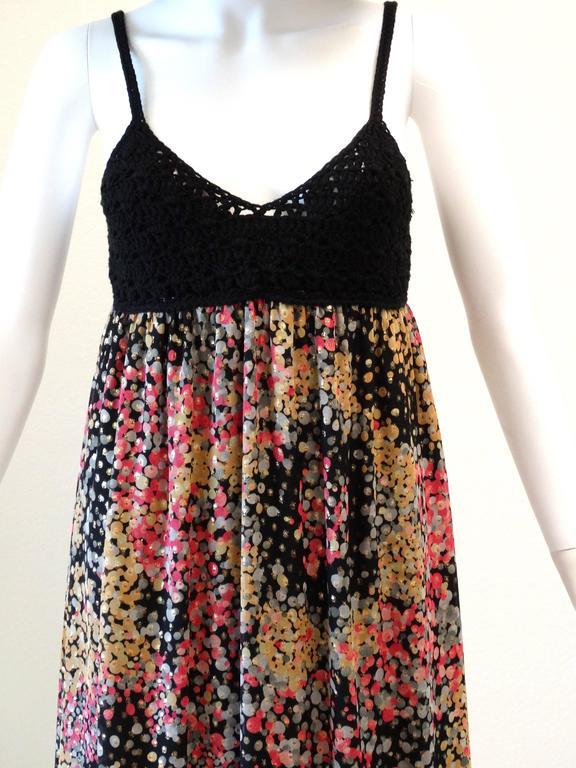 Black 1990s M Missoni Crochet Lame' Maxi Dress For Sale