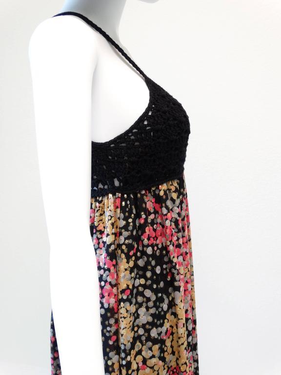 1990s M Missoni Crochet Lame' Maxi Dress For Sale 3