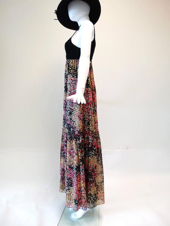 1990s M Missoni Crochet Lame' Maxi Dress For Sale 1