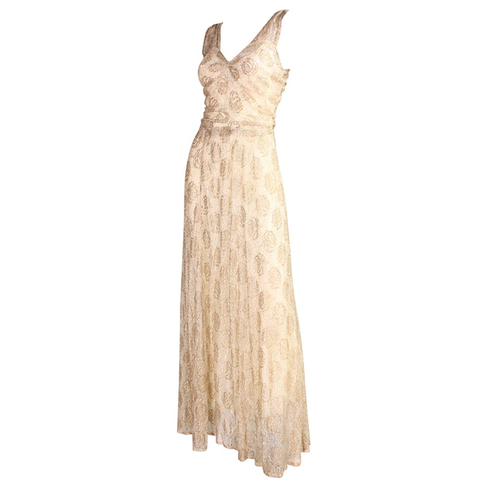Ivory Lace and Gold Lamé Gown, 1930s