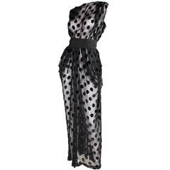 Givenchy Dotted Chiffon Gown with Draped Hip Detail