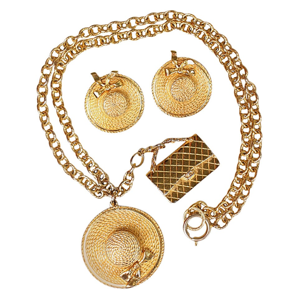 Chanel Necklace & Earrings Set For Sale
