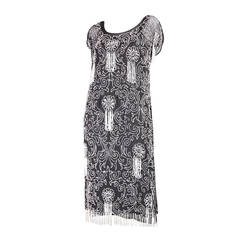 1920's Art Deco Beaded Chiffon Dress