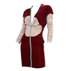 Jean Paul Gaultier Velvet Dress with Plunging Neckline
