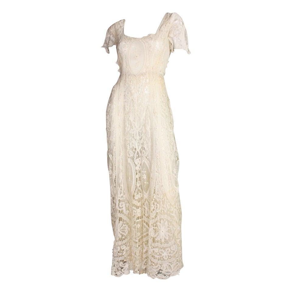 Edwardian Battenburg Lace Dress For Sale