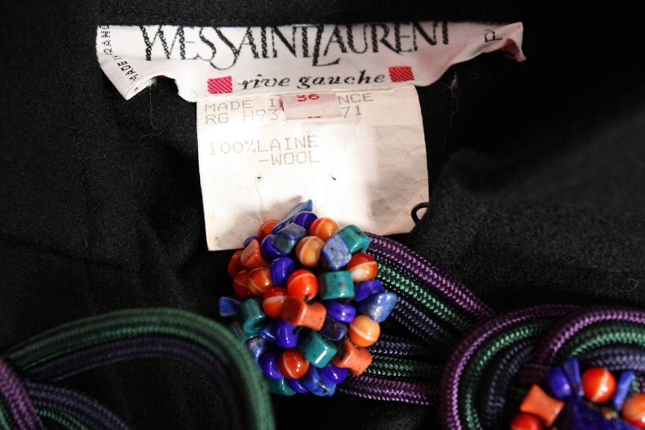 1970's Yves Saint Laurent Black Wool Cape 7