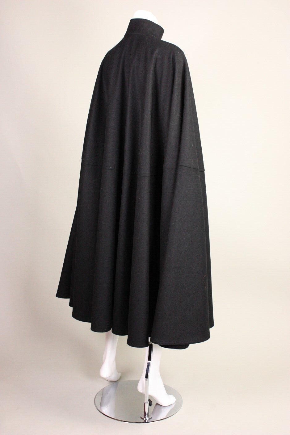 1970's Yves Saint Laurent Black Wool Cape In Excellent Condition For Sale In Los Angeles, CA