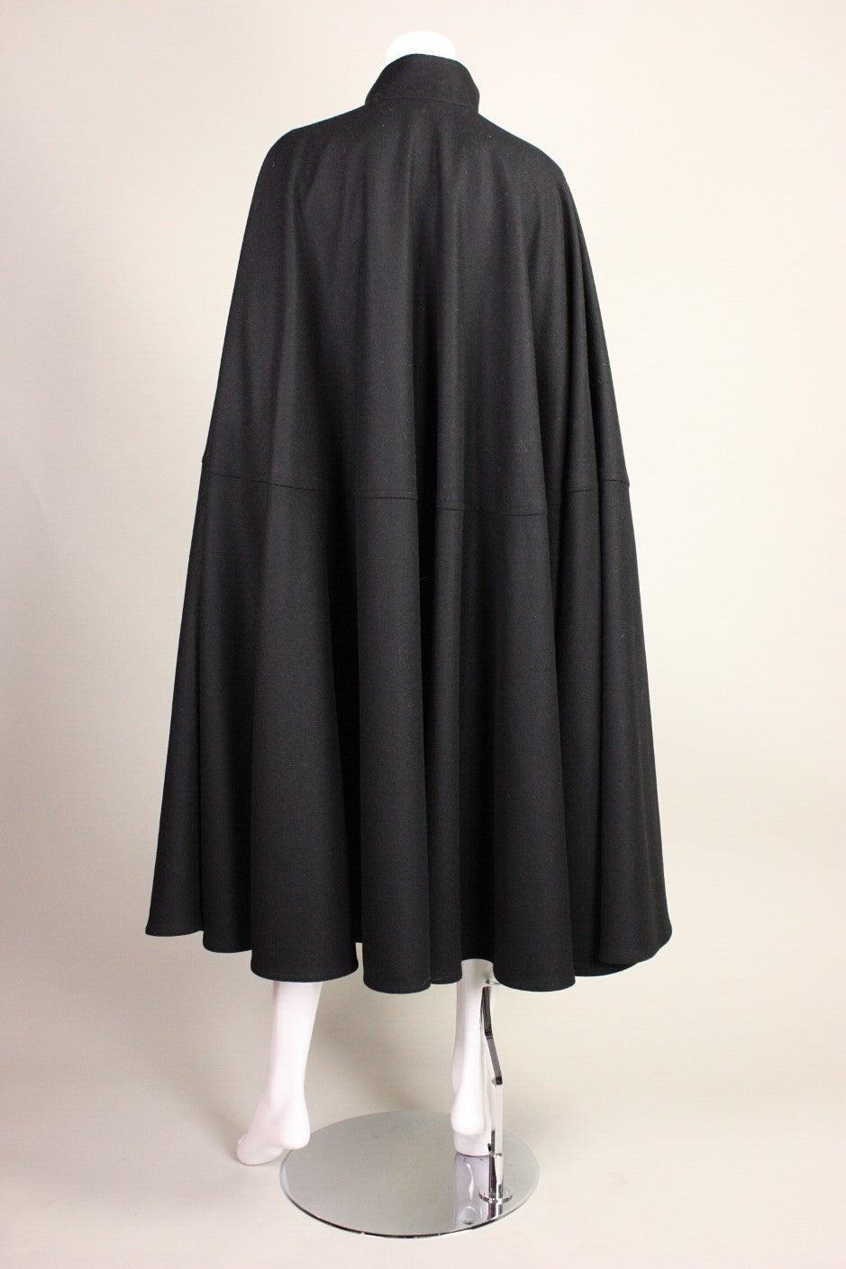 1970's Yves Saint Laurent Black Wool Cape 4