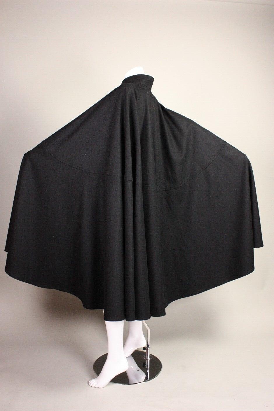 1970's Yves Saint Laurent Black Wool Cape 5