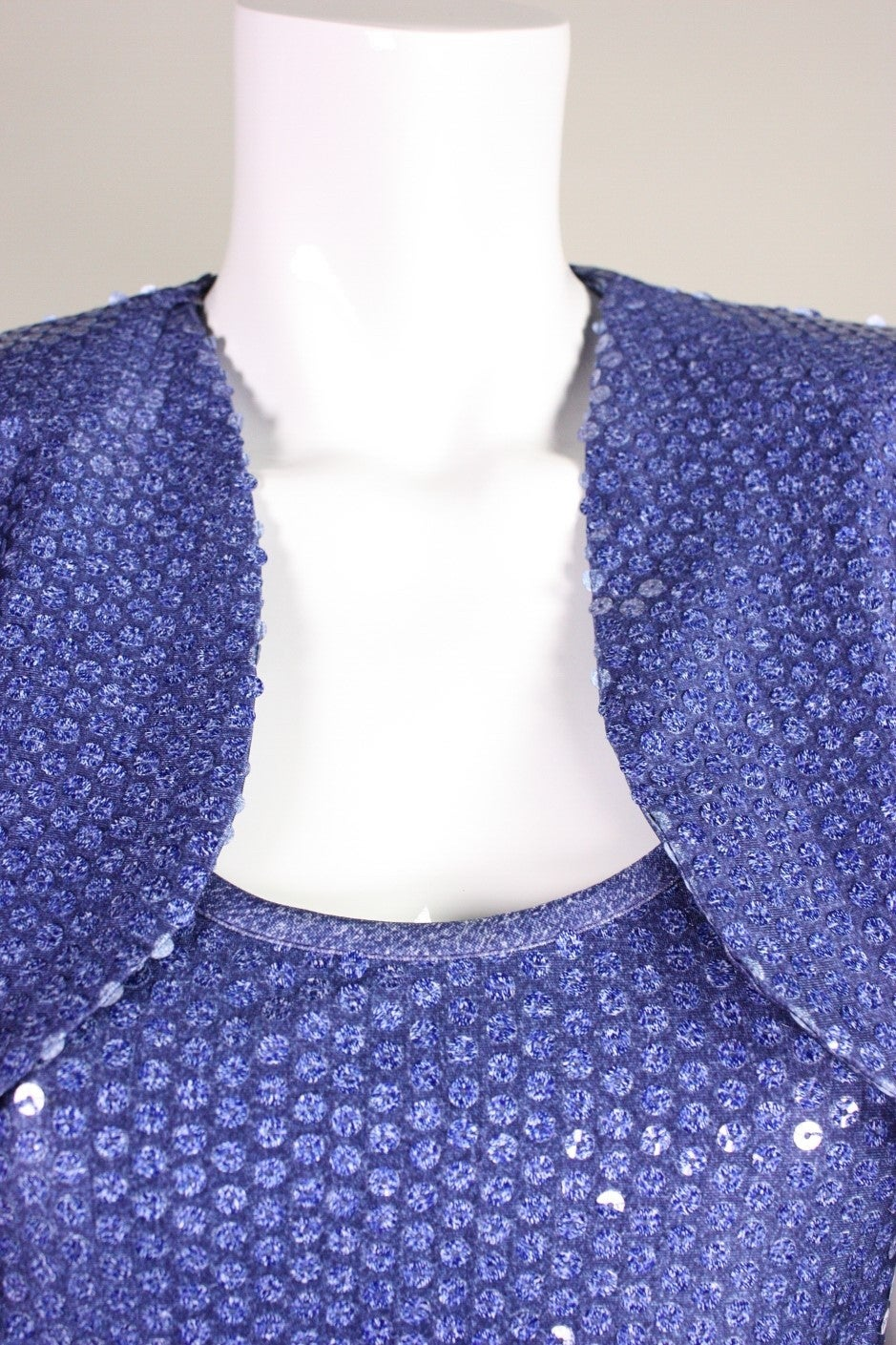 "Patrick Kelly ""Denim"" Jersey Sequined Dress & Bolero 6"