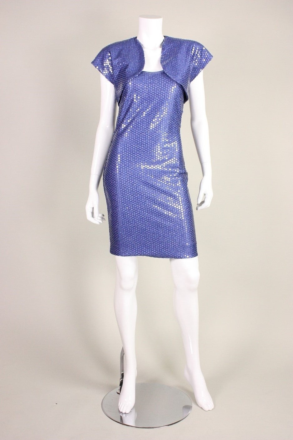 "Patrick Kelly ""Denim"" Jersey Sequined Dress & Bolero 2"