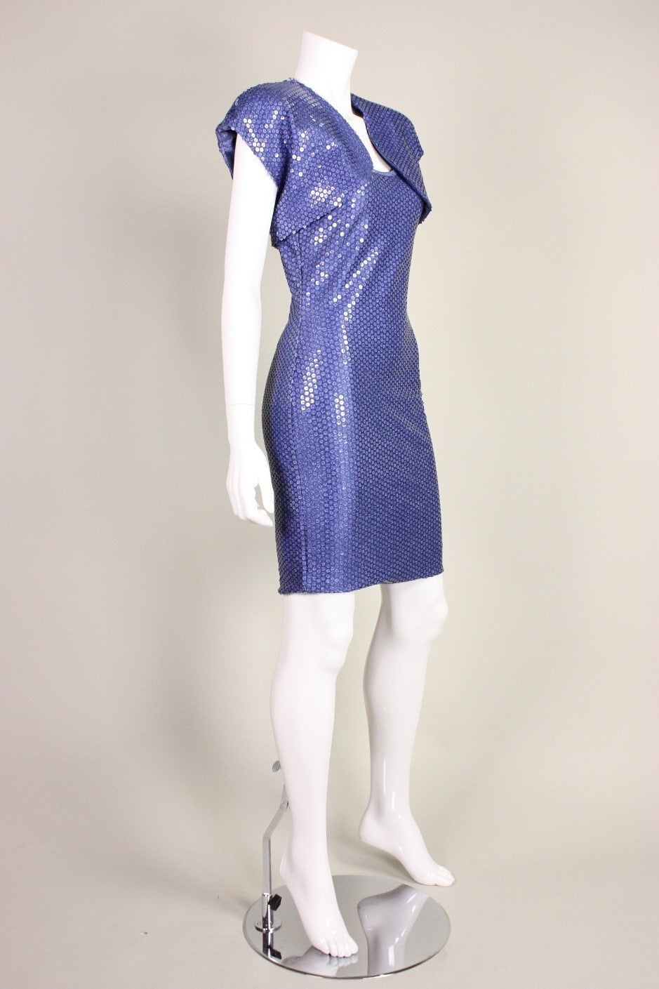 "Patrick Kelly ""Denim"" Jersey Sequined Dress & Bolero 3"
