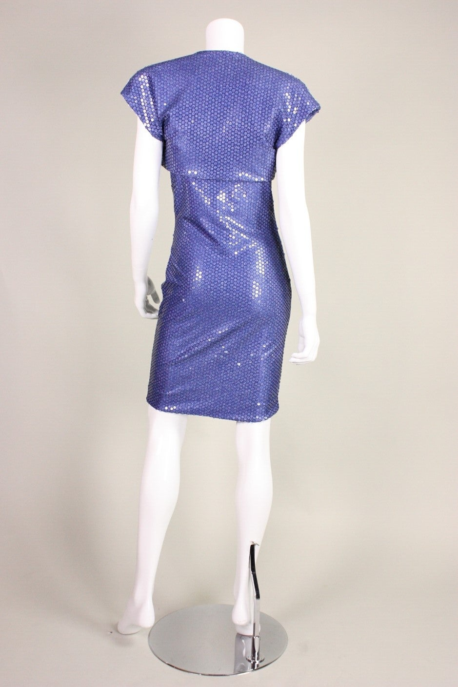 "Patrick Kelly ""Denim"" Jersey Sequined Dress & Bolero 5"