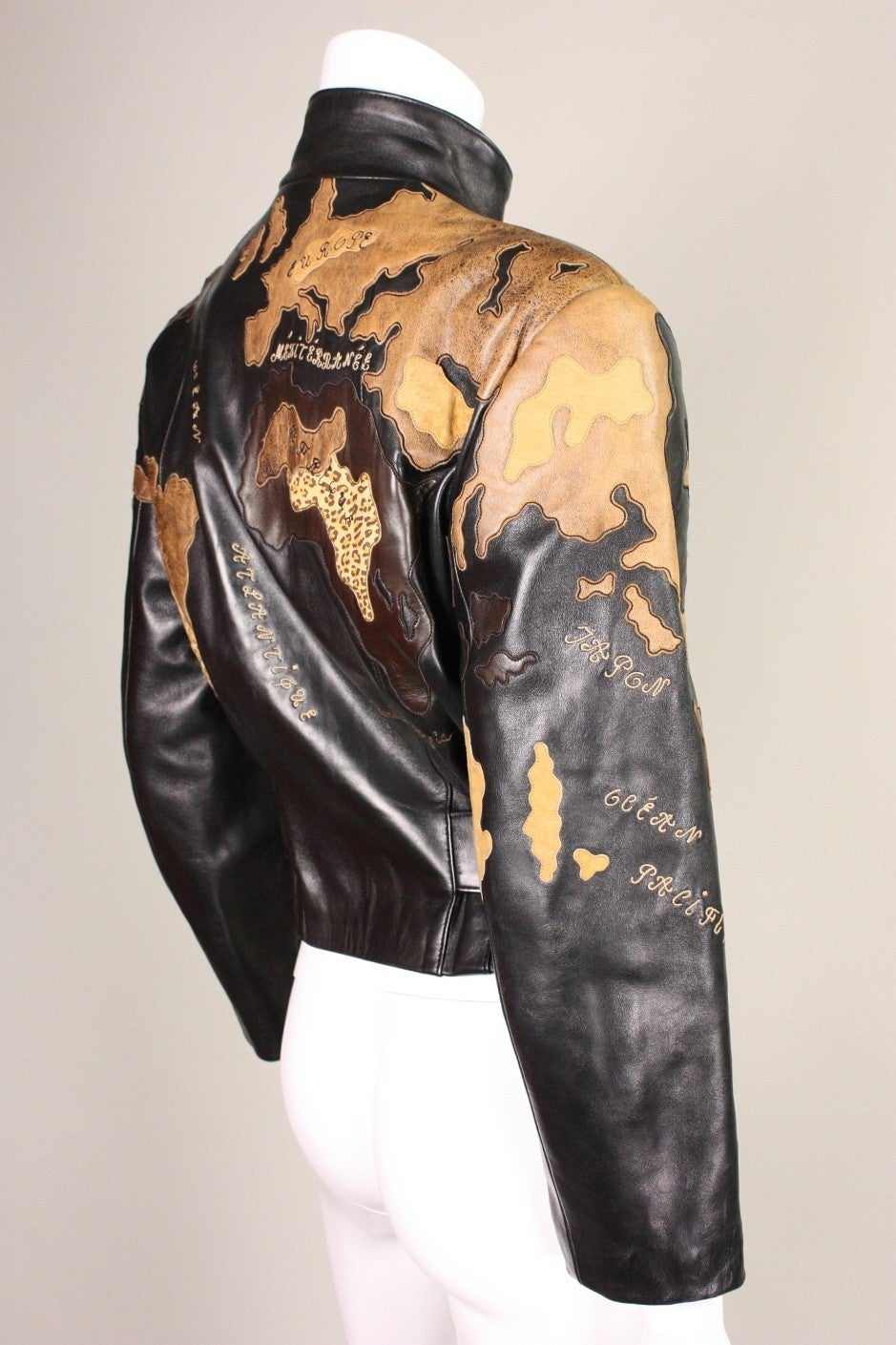 Jean Claude Jitrois World Map Leather Jacket At 1stdibs