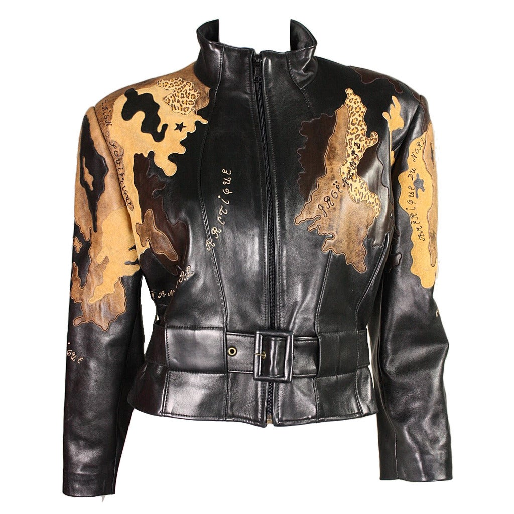 Jean claude jitrois world map leather jacket at 1stdibs jean claude jitrois world map leather jacket for sale gumiabroncs Images