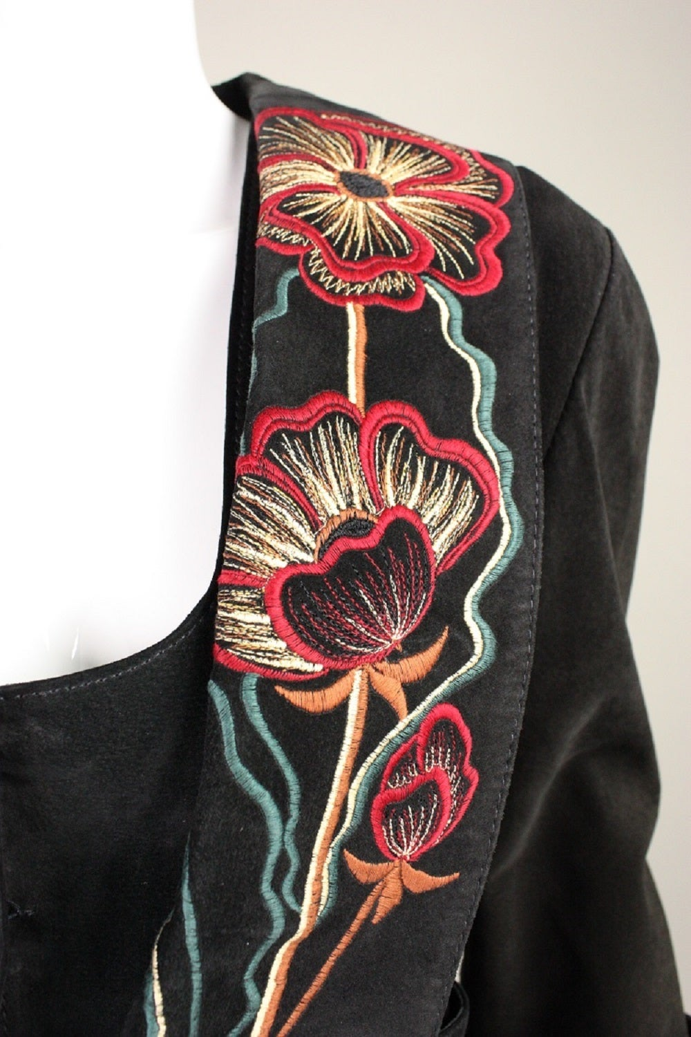 1970's Bill Gibb Suede Jacket & Vest with Embroidery 5