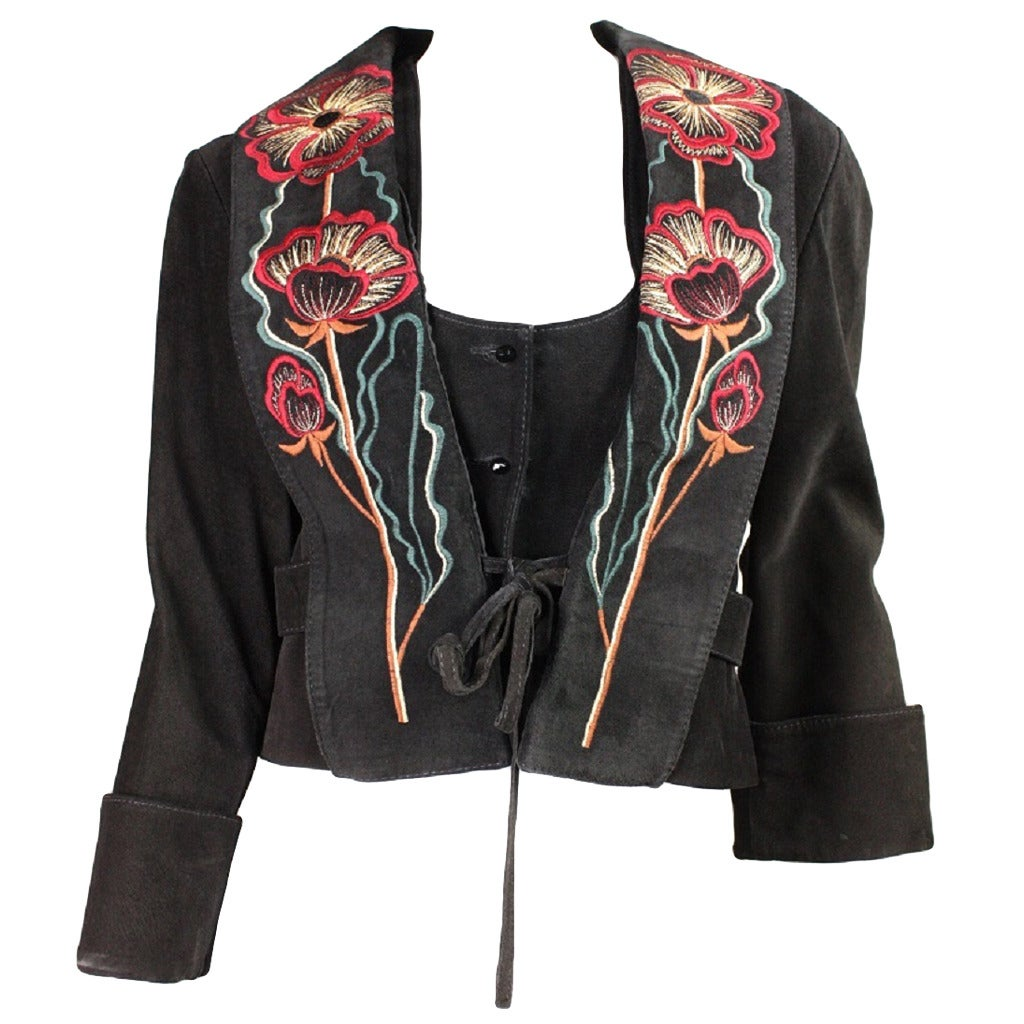 1970's Bill Gibb Suede Jacket & Vest with Embroidery 1