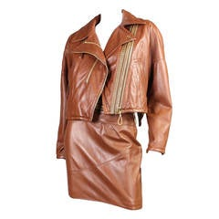 Gianfranco Ferre Leather Suit with Amazing Hardware Detail