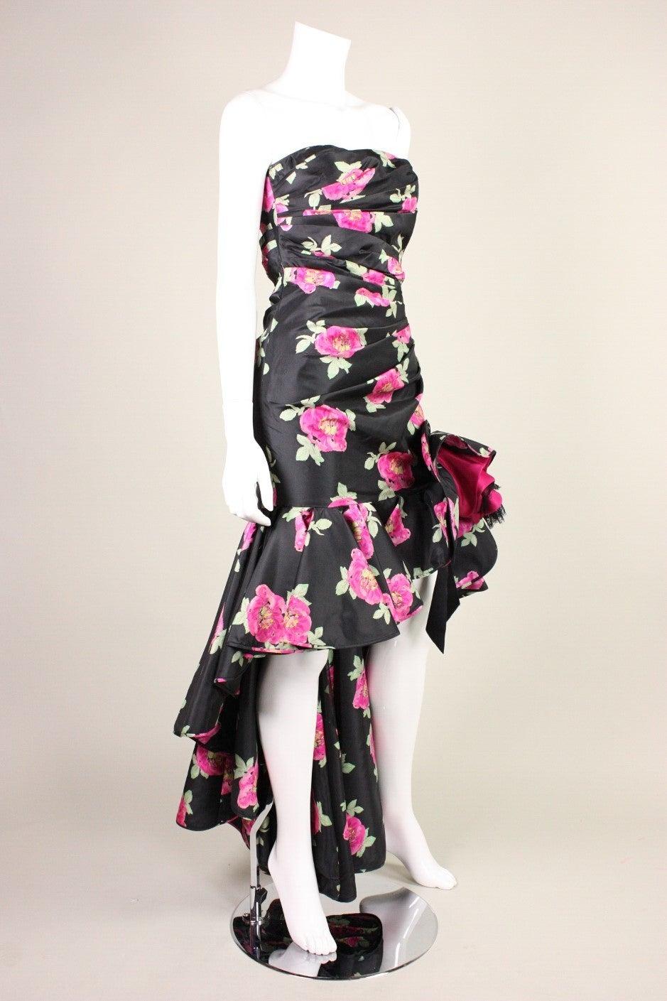 Black 1980's Ungaro Floral Evening Dress For Sale