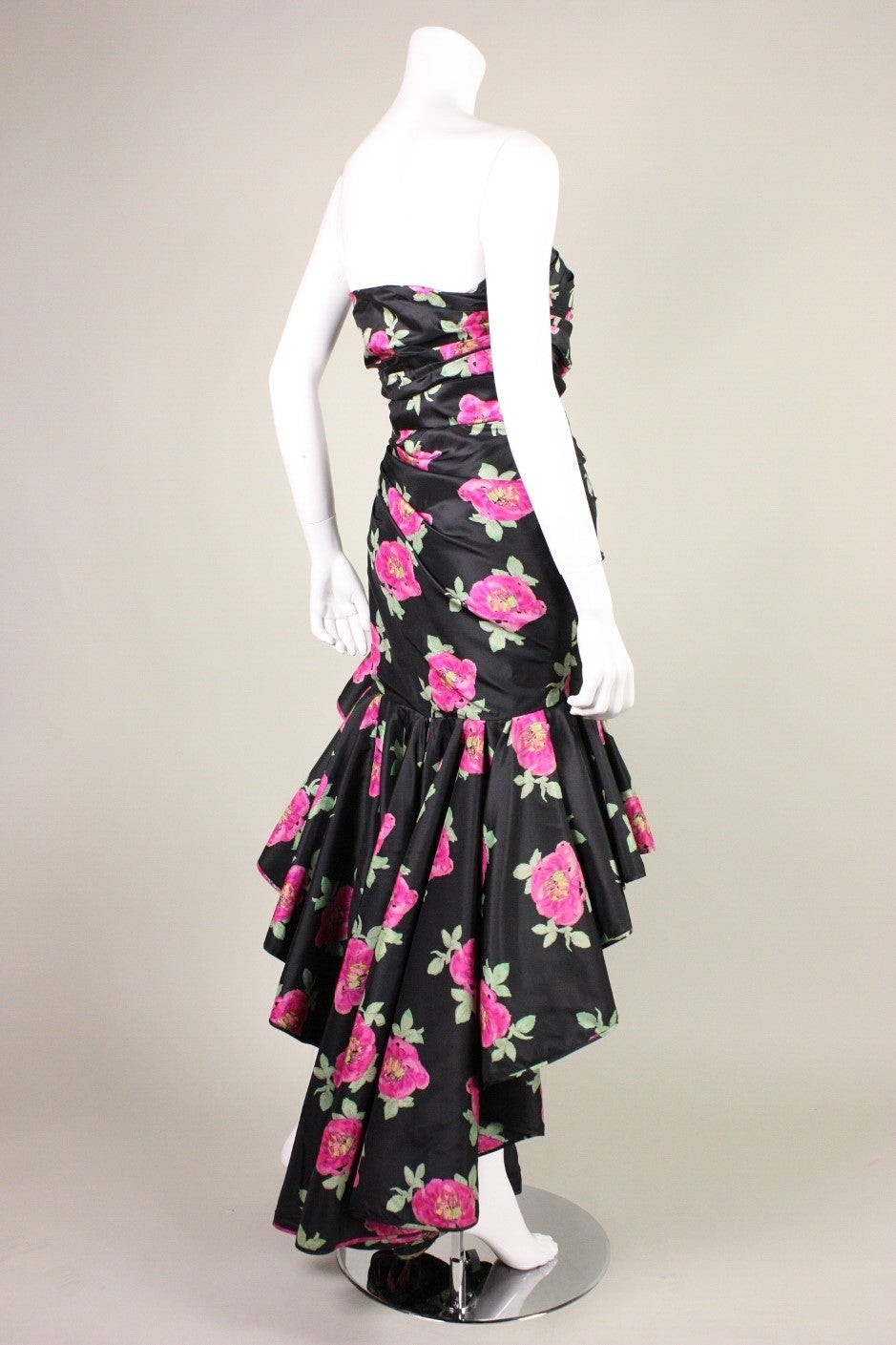 1980's Ungaro Floral Evening Dress In Excellent Condition For Sale In Los Angeles, CA