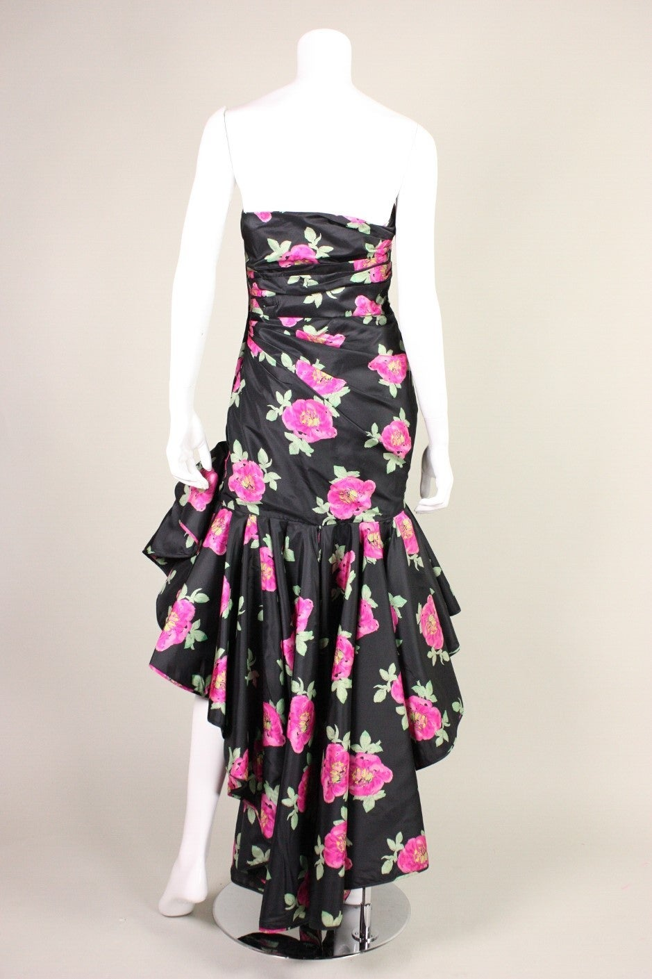 Women's 1980's Ungaro Floral Evening Dress For Sale