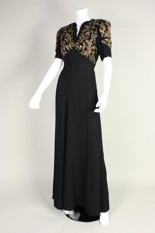 1940's Crepe Gown with Beaded Bodice For Sale 1