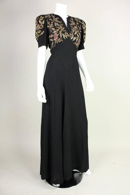 Black 1940's Crepe Gown with Beaded Bodice For Sale