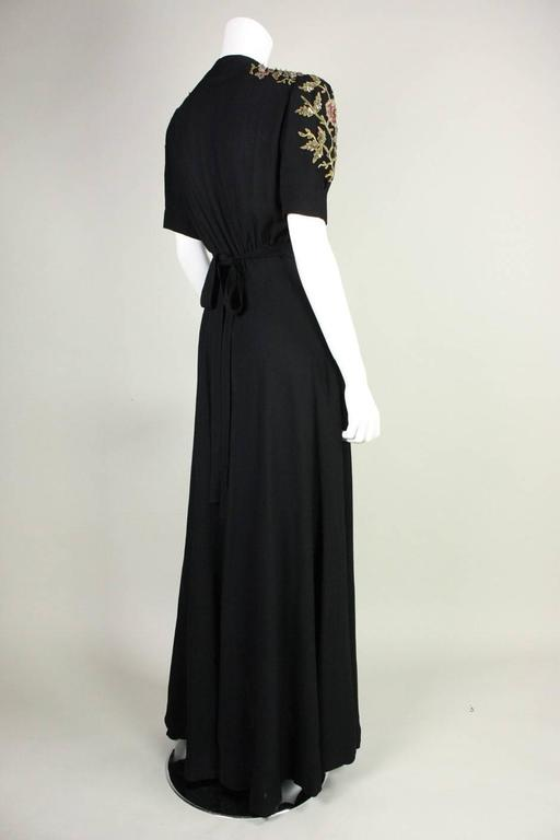 1940's Crepe Gown with Beaded Bodice In Excellent Condition For Sale In Los Angeles, CA