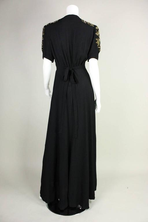 Women's 1940's Crepe Gown with Beaded Bodice For Sale